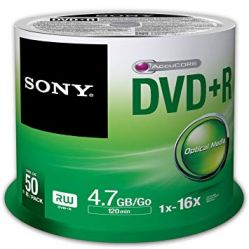 Sony DVD+R 50 Pack 4.7GB/Go 1x-16x (Spindle)
